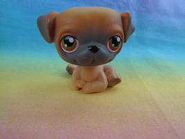 Hasbro Littlest Pet Shop Brown / Tan Pug Puppy Dog Green Red Eyes  #2 - $103,40 MXN