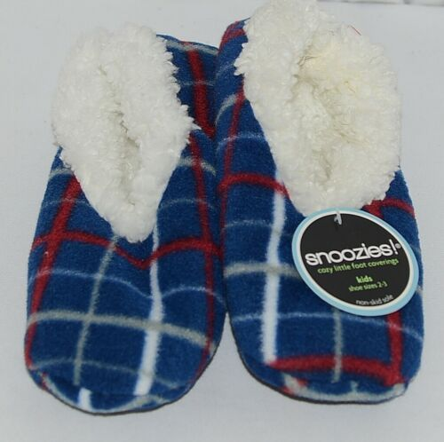 Snoozies Brand 200285N Navy Modern Plaid Pattern Kids House Slipper Size XL