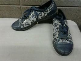 Michael Kors MK Trainer Monogram Jacquad Sneakers 7M Blue (dd) (b33) - $37.39