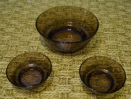 lot 3 ARCOROC FRANCE Brown clear GLASS SERVING BOWL fruit salad bowls  - $26.15