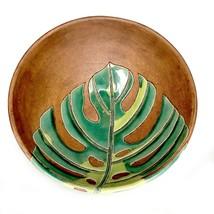 Ceramic Stoneware Bowl Monstera Leaf MCM Design Decoration Display Cente... - $41.59