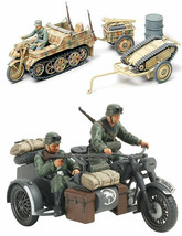 2 Tamiya Models - Motorcycle and Sidecar and Kettenkraftrad with Infantr... - $29.69