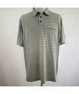 Duluth Trading 3 Button Gray Striped Polo Shirt Mens Sz L - $26.03