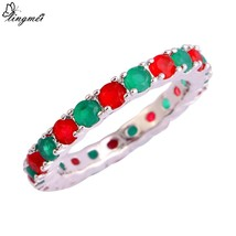 Charming Jewelry Red Green  Silver 925 Ring Size 6 7  8 9 10 11 12 13 Fo... - $7.90