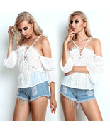 Womens Lace Off Shoulder Short Sleeve Ladies Casual Party Tops Chiffon S... - $38.00