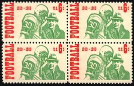 1969 Intercollegiate Football Block of 4 US Stamps Catalog Number 1382 MNH