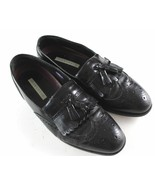 Florsheim Mens size 9D Wingtip Brogue Black Dress Shoes Tassel Kilt Loafers - $28.59