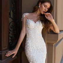 Sexy Open Back Beaded Sequined Lace Slim Elegant Mermaid Wedding Dresses image 3