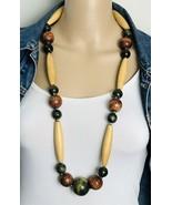 """Vintage Chunky Wood Beaded BOHO Necklace 37"""" - $17.82"""