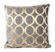 """EMBROIDERED CIRCLE CHENILLE GREY CREAM 22"""" - 55CM CUSHION COVER - £12.89 GBP"""