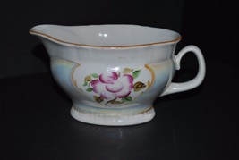 Vintage Pearlescent Gravy Boat with Handpainted Flower - $9.49