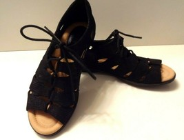 Earth Plover Womens Size 8B Black Leather Lace Up Gladiator Strappy Flat... - $44.99