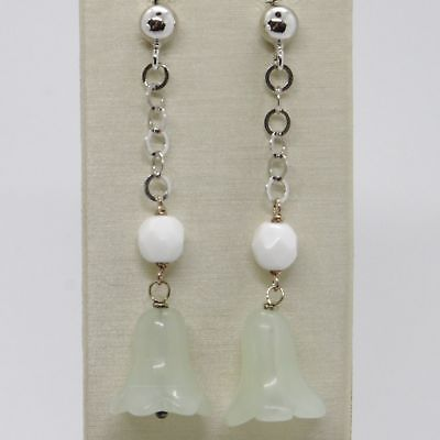 EARRINGS SILVER 925 TRIED AND TESTED HANGING WITH GIADA GREEN BELL CAMPANULA