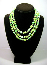 MINT & LIME Green Milk White GLASS BEAD Necklace Vintage Triple Strand B... - $18.99