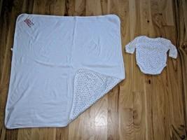 Vintage Baby Gap Alphabet Letters Logo ABC White Cotton Baby Blanket/Bodysuit - $59.39