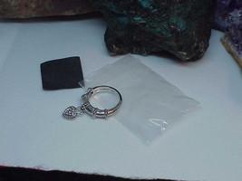 Judith Ripka Sterling Silver Heart Charm Dangle Pave' Diamonique Ring Sz... - $69.29