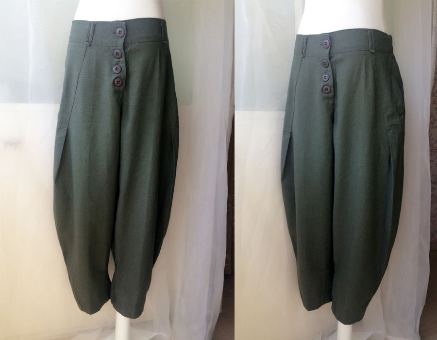 Women Army Green Wide Leg Pants Long Linen Pants Trousers Over-sized Pants NWT