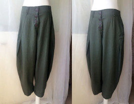 Women Army Green Wide Leg Pants Long Linen Pants Trousers Summer Harem Pants  image 1