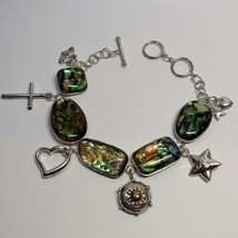 STERLING SILVER Lucas Lameth LUC Abalone Toggle Clasp Adjustable Charm B... - $36.61
