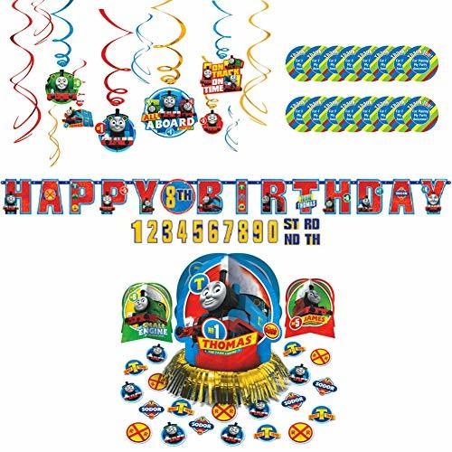 Thomas All Aboard Party Supplies Pack for 16 Guests - Stickers, Hanging Swirls,