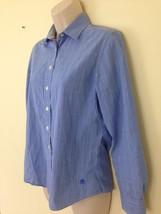 Tommy Hilfiger Womens sz 2 Small Blue Windowpane Button Front Dress Shirt - $5.05