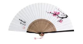 Handmade Folding Fan Korean Bamboo Folding Fan Oriental Painting Fan Flo... - $33.90