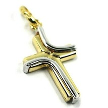 18K YELLOW & WHITE GOLD CROSS PENDANT, DOUBLE WAVE, TWO FACES, 1.18 INCHES image 1