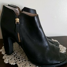 Kenneth Cole Reaction Brand ~ Black ~ Women's Size 9.5 Open Toe Leather Booties - $76.00