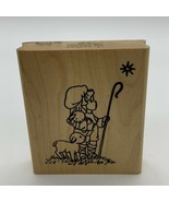 Repeat Impressions Rubber Stamp Shepard Boy With Lambs Sheep Star 1997 - $11.53