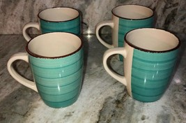 Set Of 4 Royal Norfolk Turquoise Blue Swirl Stoneware 12 Oz. Coffee Mugs Cups - $39.48