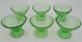 6 Block Optic Footed Sherbets by Anchor Hocking Green Depression - $12.82