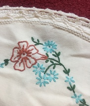 Vintage 30s Embroidered Floral Pillowcase with crocheted edge image 3