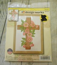 Design Works Floral Cross 5x7 Counted Cross Stitch Picture Kit JAS-.043 - $9.52