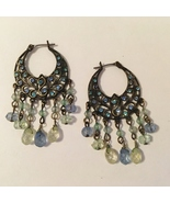 Peacock Blue Earrings Chandelier Hoop Rhinestone Beaded Antique Gold Metal - $28.00