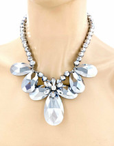 Silver Gray Faceted Glass Statement Chunky Necklace Earrings Set, Casual Chic - $33.25