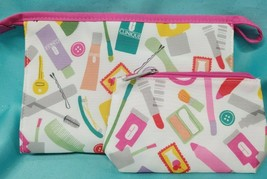 Clinique 2pc Cosmetic Bag Set Makeup Travel Large & Small Zipper ~ Pink & White! - $7.50