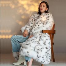 European Style Black And White Spot Leopard Faux Full Length Fur Coat image 2
