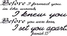Jeremiah 1:5, Before I Formed You I Knew You, Set You Apart, Vinyl Wall Art - $16.64