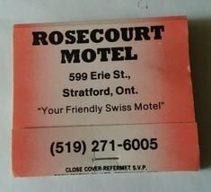 Rosecourt Motel Stratford Ontario Canada Matchbook Unstruck  - $8.90