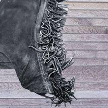 Basket Weave Tooled Action Company Equitation Chaps Black Size Medium image 2