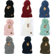 CC Beanie Solid Chenille Knit Hat Cap with Pom - $15.99