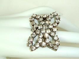 Vintage Clear Rhinestone Ring Statement Czechoslovakia adjustable glam 10.5 - $19.75