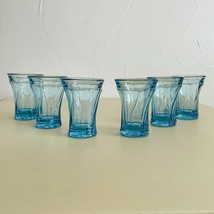 Set of 6 Vintage BLUE Glassware FOSTORIA Jamestown Glassware Swirl Flat Tumbler - $98.01