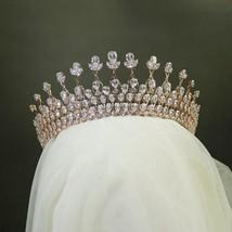 Rosebridalpark Silver Rose Gold Cubic Zircon Wedding Tiara Headband CZ B... - £77.96 GBP