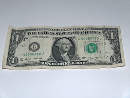 2013 $1 One Dollar Bill US Note 4-5's 4 Of A Kind 55550060 Fancy Serial Number - $12.09
