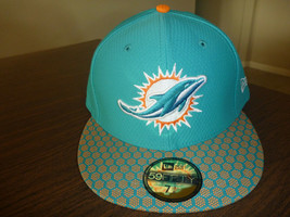 MIAMI DOLPHINS NEW ERA 59FIFTY ON FIELD SIDELINE GAME AQUA FITTED HAT SI... - $24.99