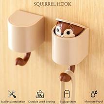 hebensi 4Pcs Adhesive Hooks Cute Cartoon Squirrel Wall Hooks for Kid's Room Livi image 5