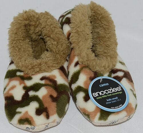 Snoozies Brand KCM001 Natural Camel Camouflage Kids House Slippers Size S