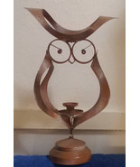 Vintage Owl Candlestick Holder Brown Metal - $51.68 CAD
