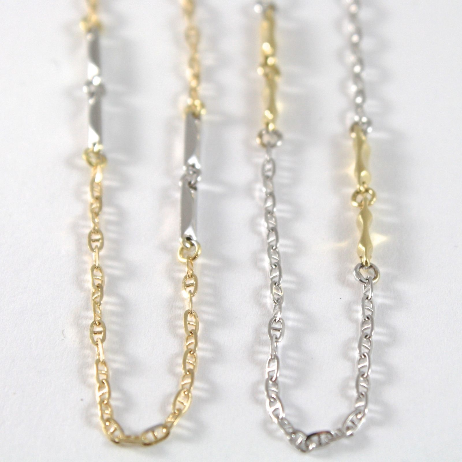 CHAIN CHOKER YELLOW AND WHITE GOLD 750 18K, JERSEY MARINA AND TUBES, 45 CM